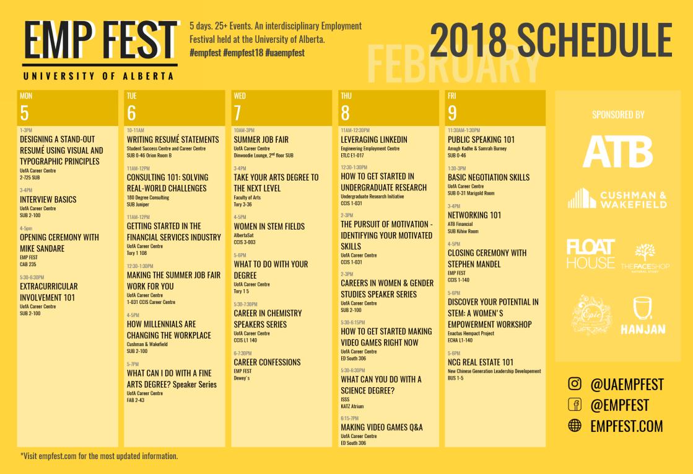 EMP FEST Schedule